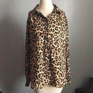 H&M Leopard Print Button Top